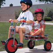"2 - 8 years. Rugged steel cargo platform has safety rails and a low center of gravity for safe, steady ride. Assembly required. 34 1/2""L. Seat: 15 3/4""H. Handlebar: 25 1/2""H."
