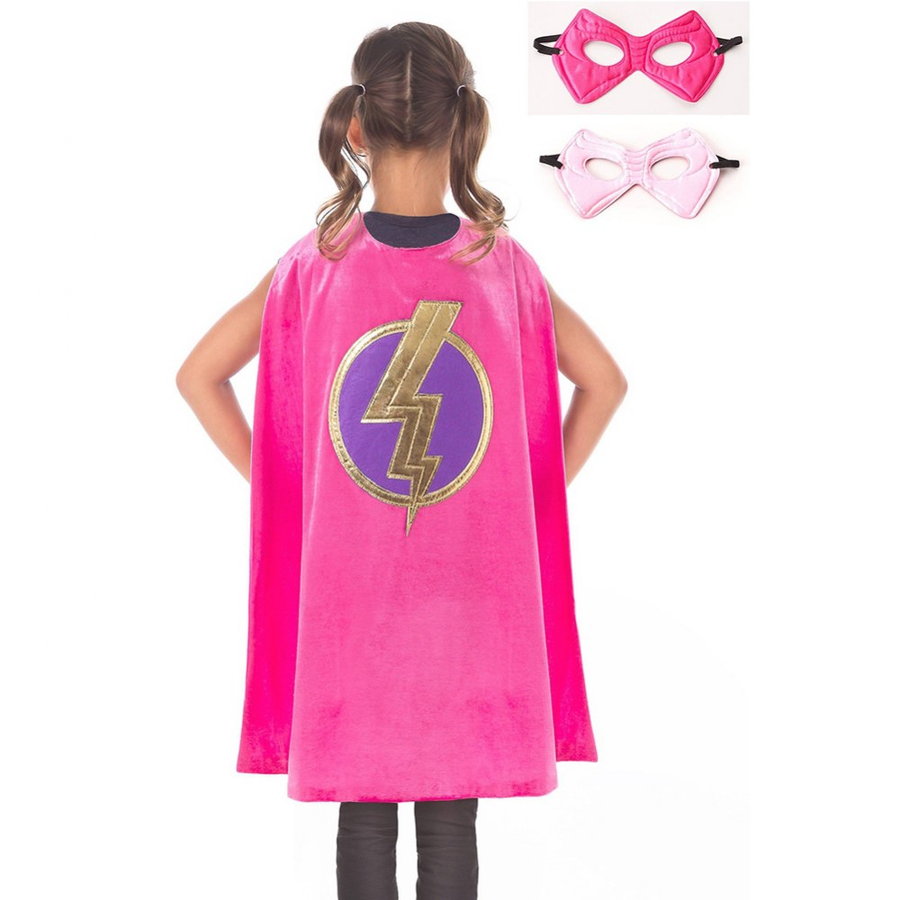Pink Hero Lightning Cape & Mask Set