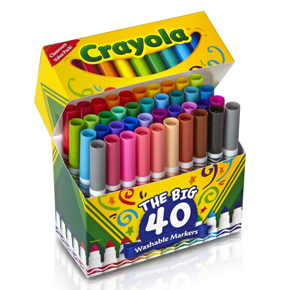 Crayola® 40-Count Broad-line Washable Markers (Single Box)