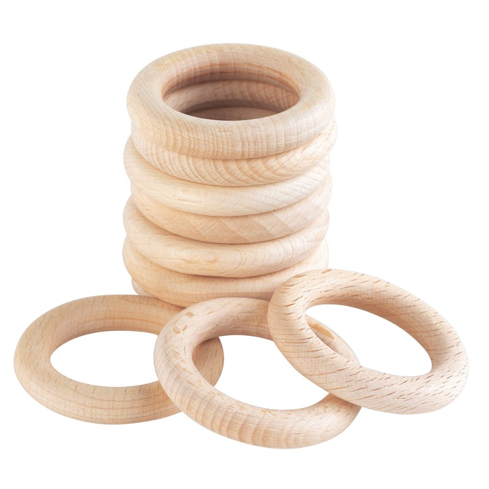 Alternate Image #1 of Toddler Wooden 40mm Beechwood Rings - Set of 10
