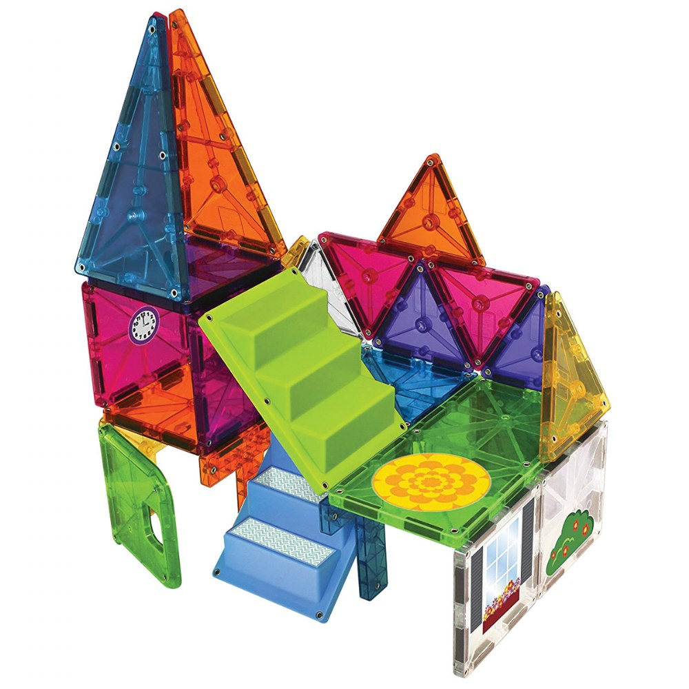 Alternate Image #1 of Magna-Tiles® 28 Piece Mixed Colors House & Car Expansion Set