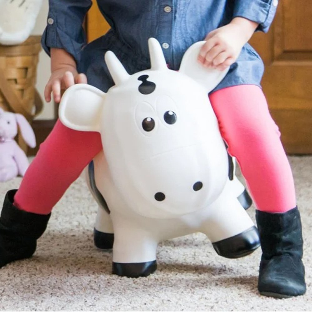 Alternate Image #2 of Farm Hoppers® Inflatable Bouncing White Cow