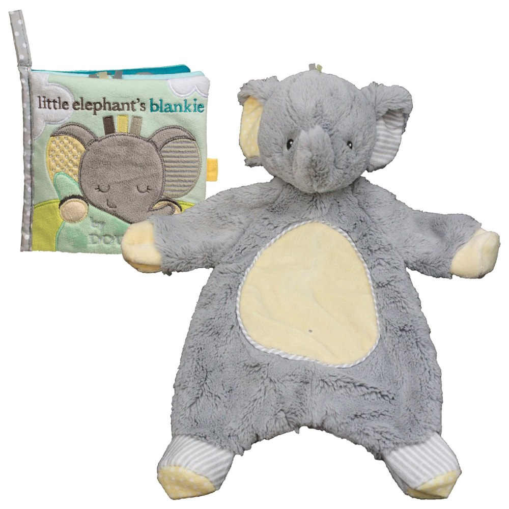Cuddle Toys Sweet Little Gray Elephant Sshlumpie™ and Crinkle Cloth Book Set