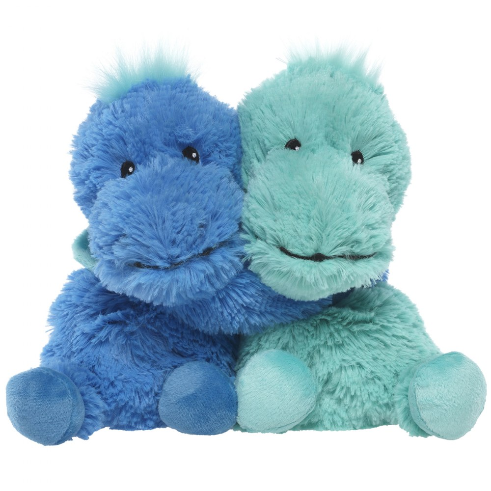"Warmies® Microwavable Plush - Hugs 8.5"" Blue and Teal Dinosaurs"