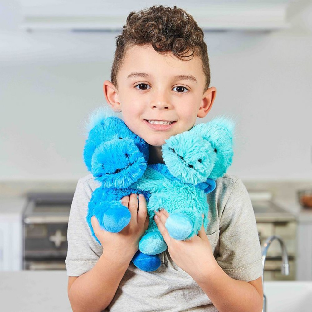 "Alternate Image #2 of Warmies® Microwavable Plush - Hugs 8.5"" Blue and Teal Dinosaurs"