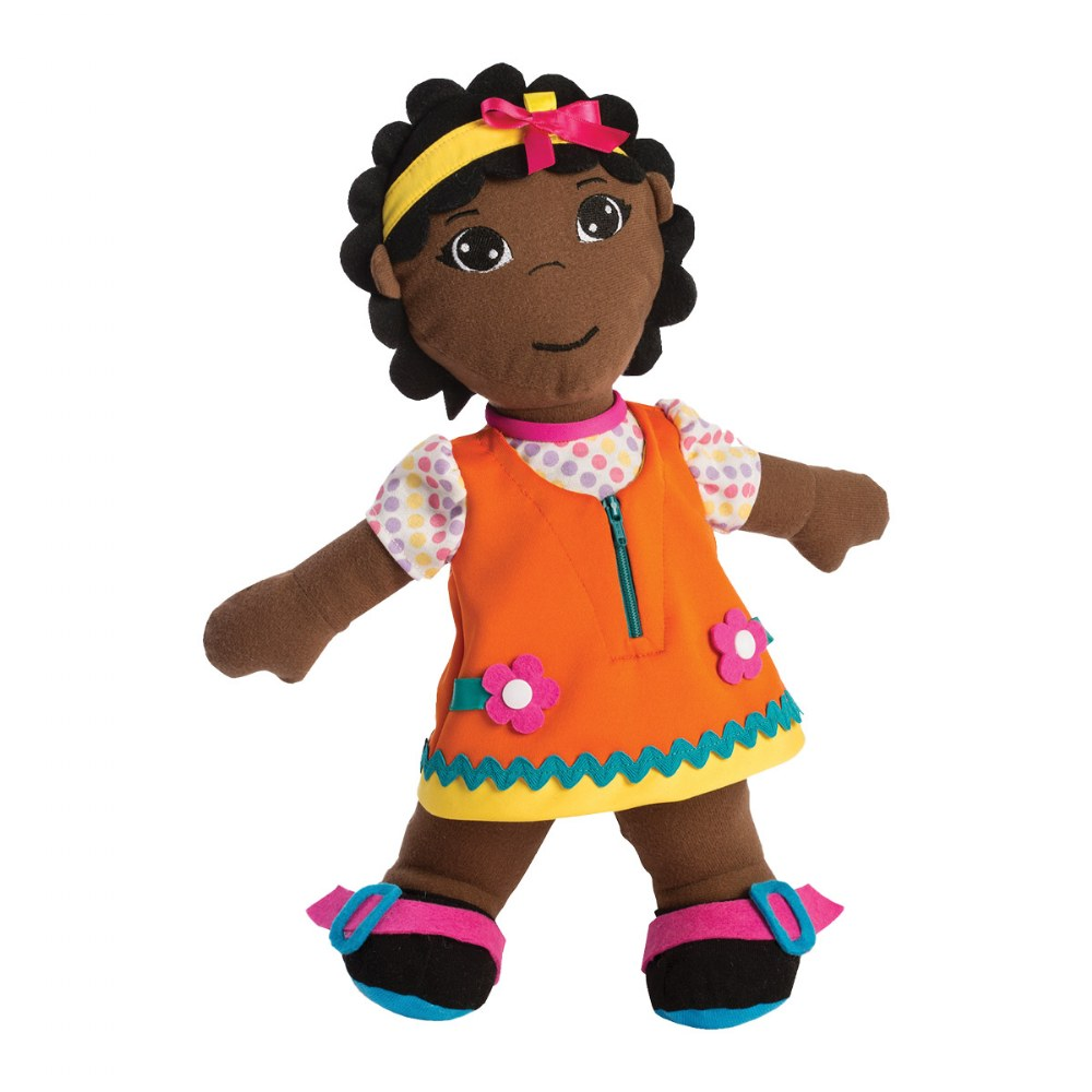 Fastening Learn To Dress Doll - Female with Yellow Headband