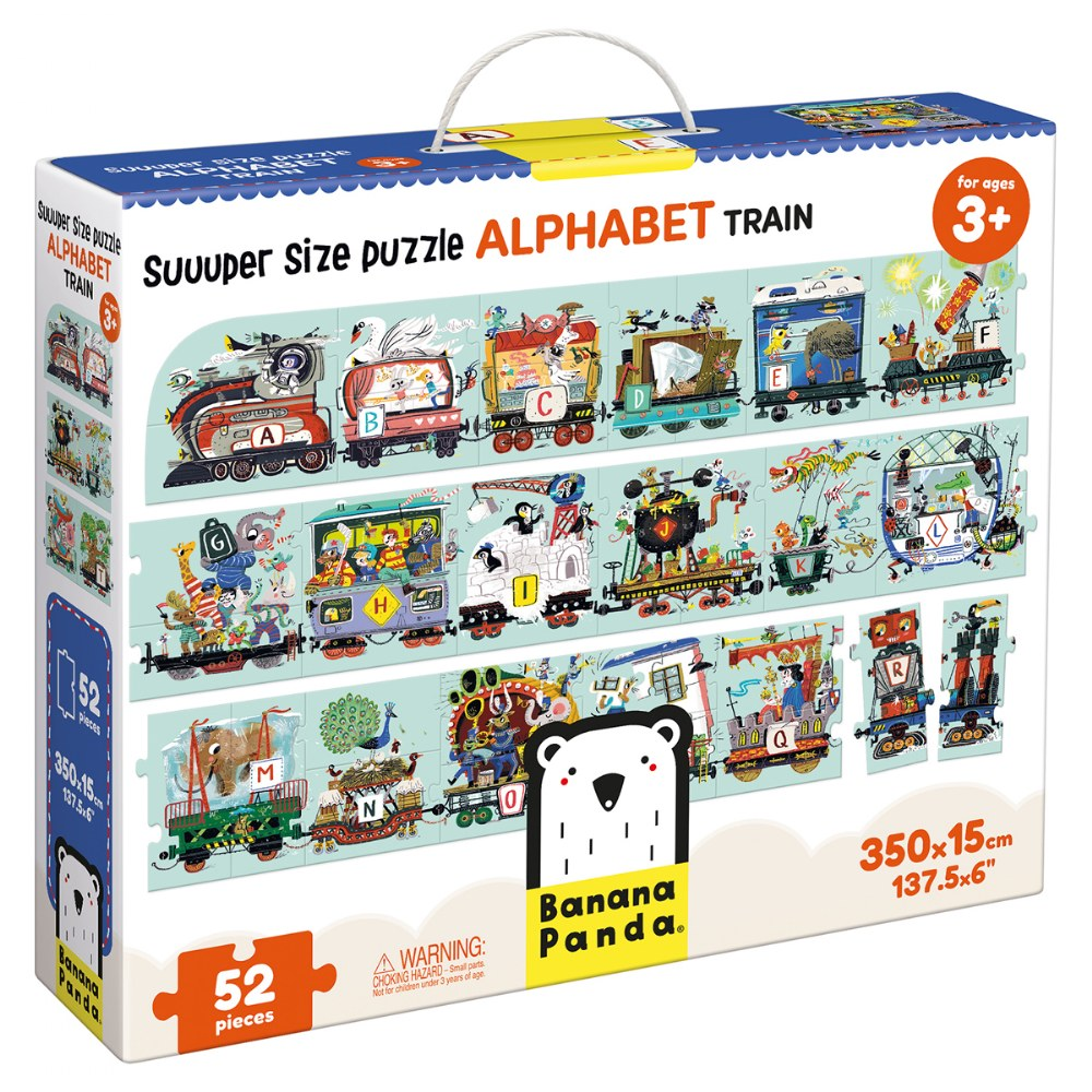 Alternate Image #2 of Suuuper Size Alphabet Train 54 Piece Floor Puzzle - Over 11 Feet Long