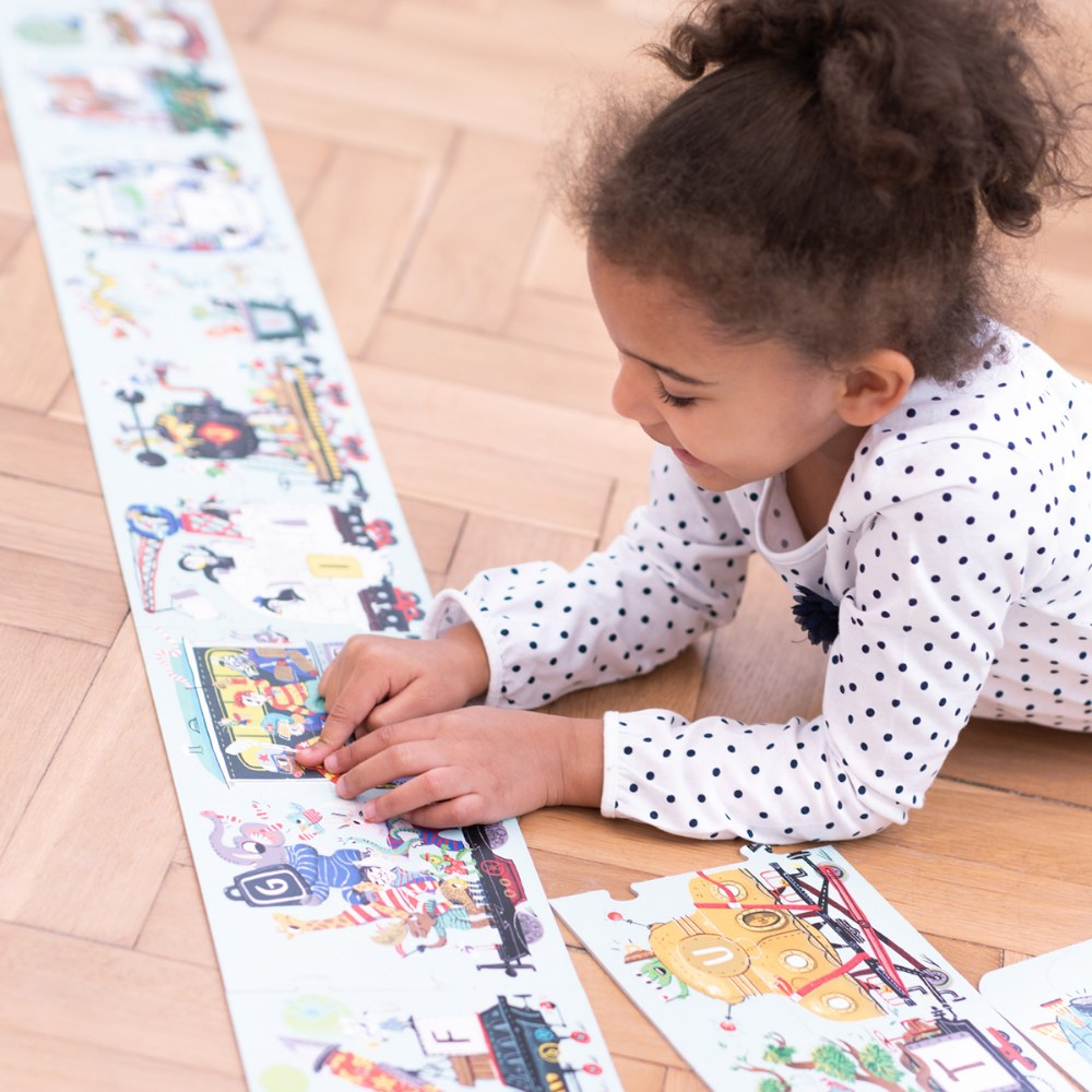Alternate Image #1 of Suuuper Size Alphabet Train 54 Piece Floor Puzzle - Over 11 Feet Long