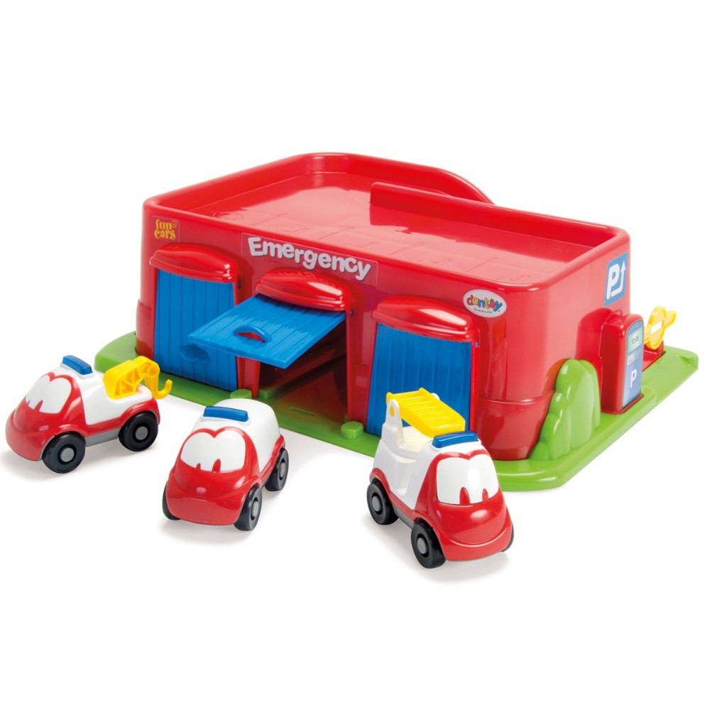 FunCars Emergency and Parking Garage With 3 Emergency Vehicles