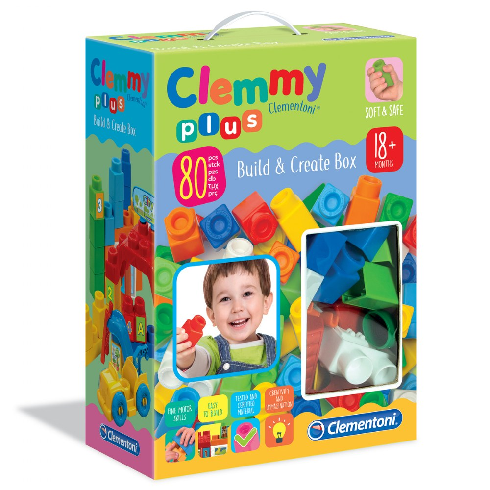 Clemmy® Plus Build and Create Box, Primary Colors - 80 Pcs.