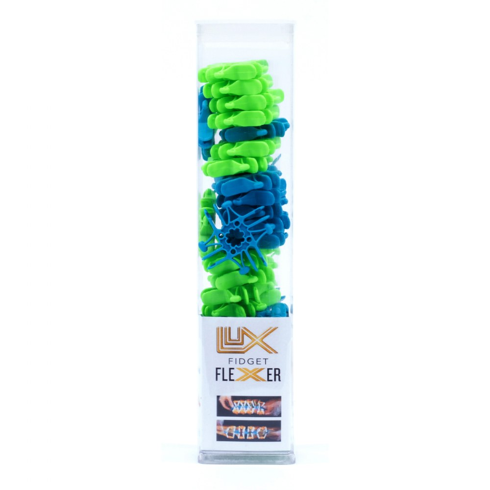 Lux Blox Fidget Flexers - Teal/Green and Purple/Yellow