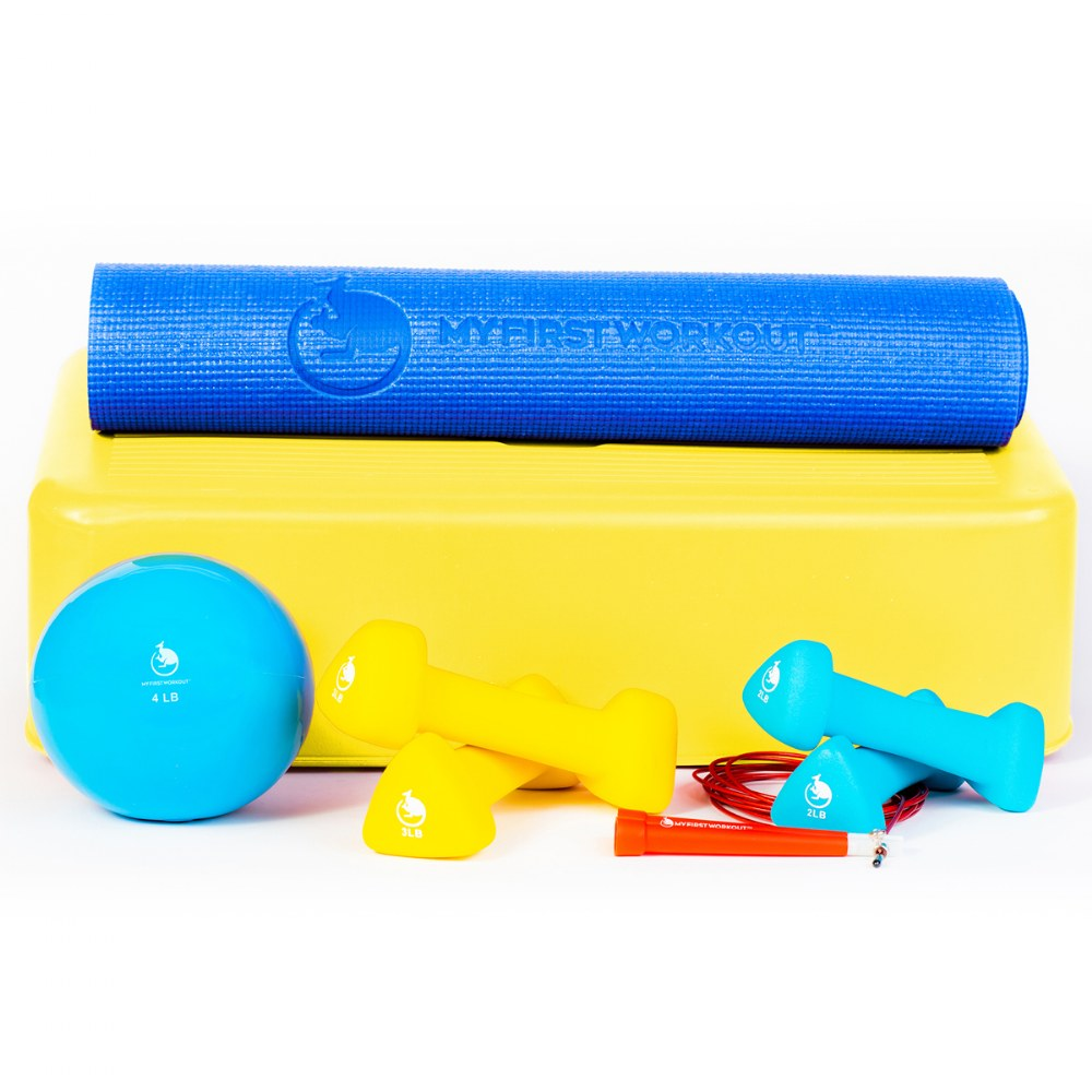 My First Workout Kit With Blue Mat - Strength, Exercise, and Fitness for Youth
