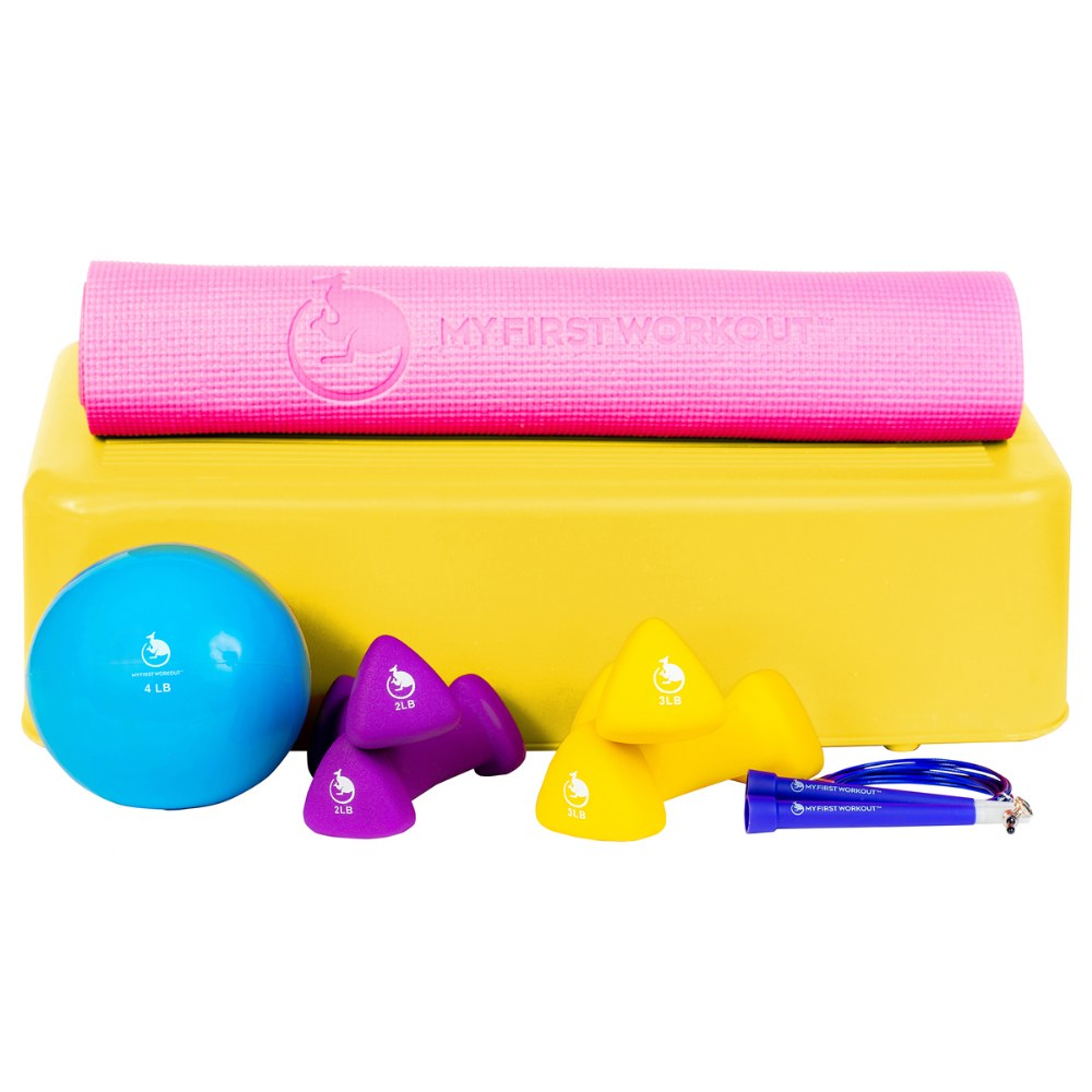 My First Workout Kit With Pink Mat - Strength, Exercise, and Fitness for Youth