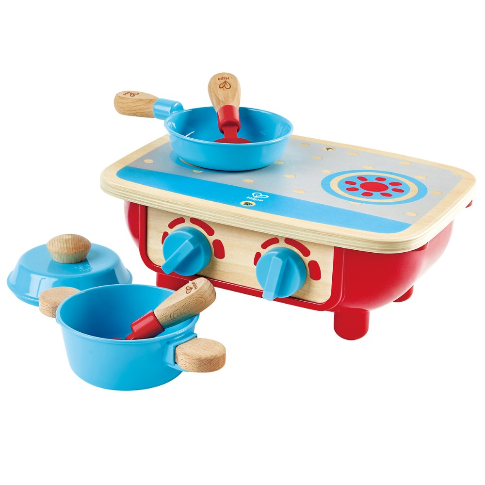 Portable Toddler Kitchen Set - Wooden 6 Pc Cooking Set