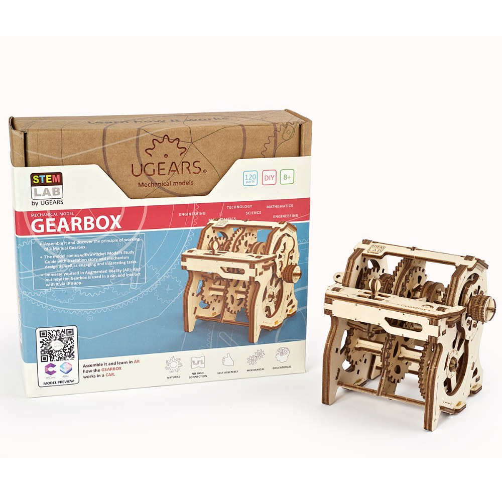 UGears STEM LAB Gearbox - Educational Mechanical Model Kit