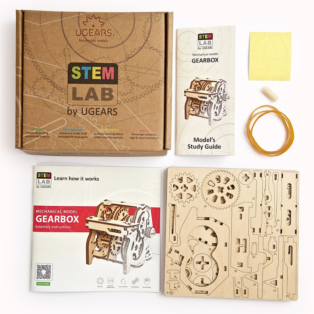 Alternate Image #1 of UGears STEM LAB Gearbox - Educational Mechanical Model Kit