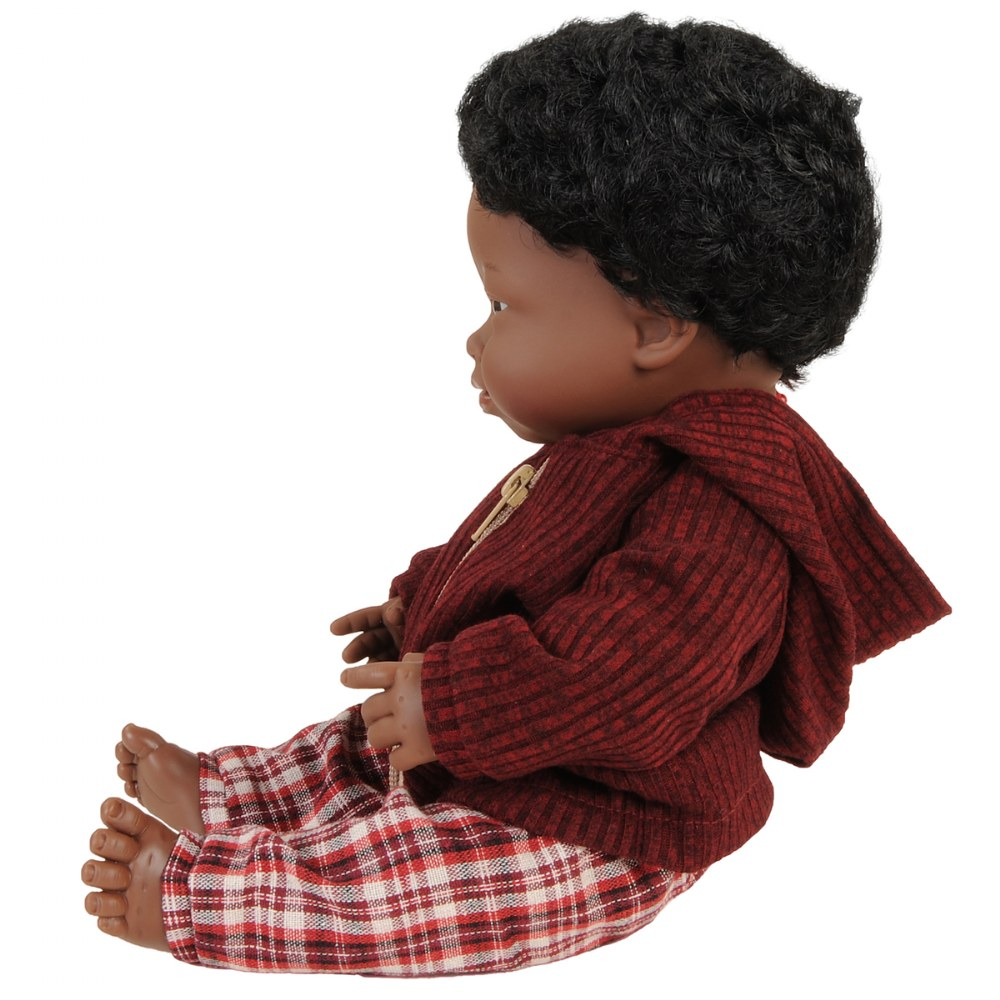 "Alternate Image #1 of Doll with Down Syndrome 15"" - African Boy with Outfit"