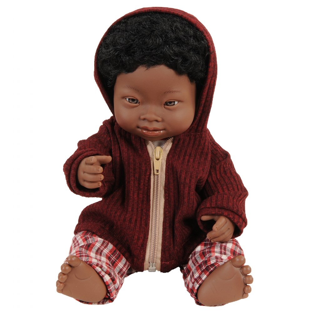 "Alternate Image #3 of Doll with Down Syndrome 15"" - African Boy with Outfit"