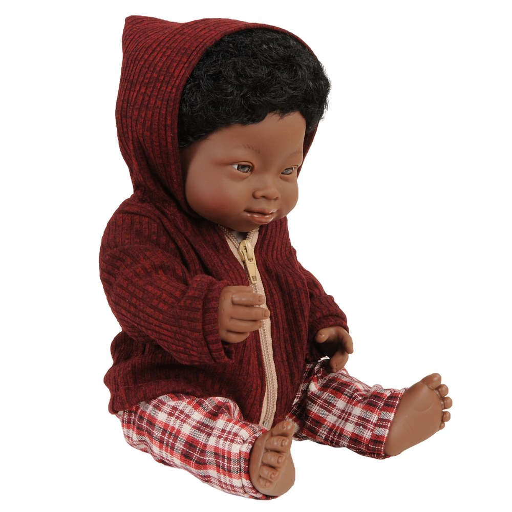 "Alternate Image #4 of Doll with Down Syndrome 15"" - African Boy with Outfit"