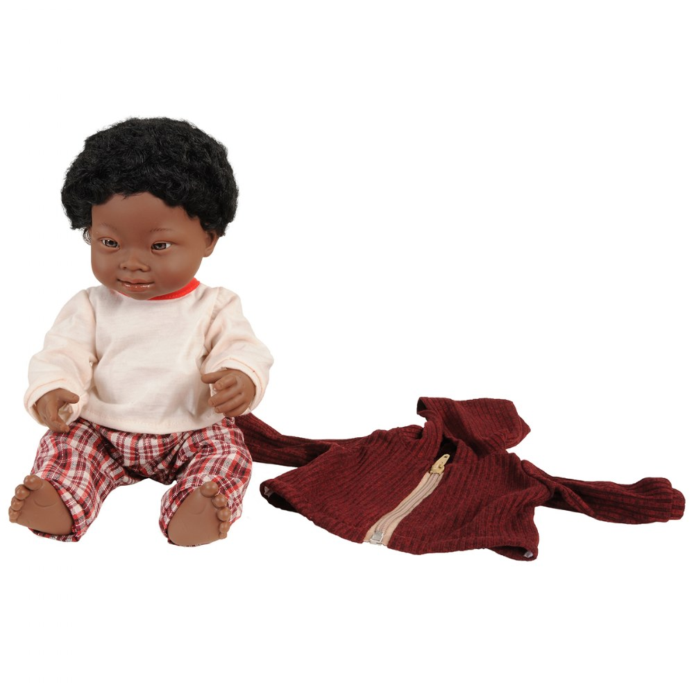 "Alternate Image #5 of Doll with Down Syndrome 15"" - African Boy with Outfit"