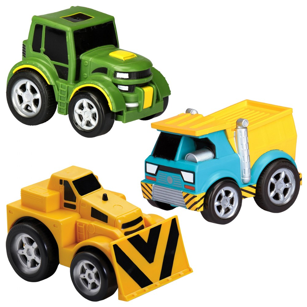Pull-Back Tractor, Dump Truck and Bulldozer