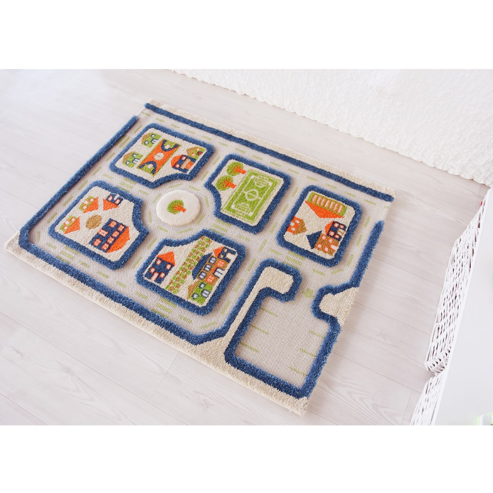 "Alternate Image #1 of IVI Traffic 3D Play Rug - Blue 31.5"" x 44.5"""