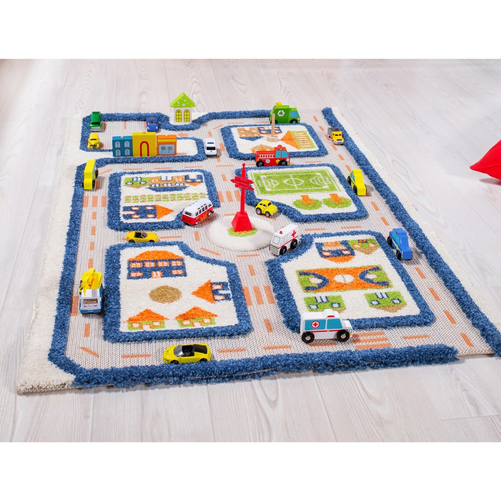 "Alternate Image #2 of IVI Traffic 3D Play Rug - Blue 31.5"" x 44.5"""