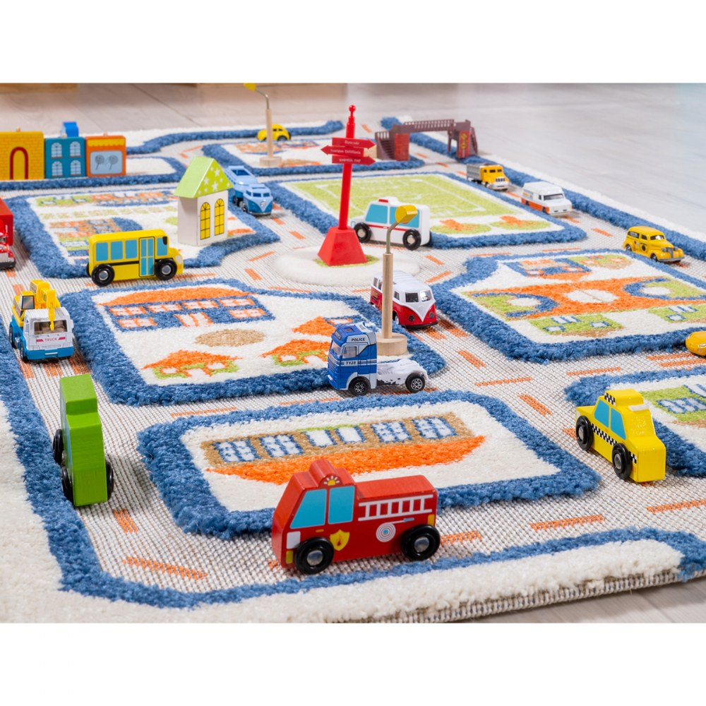 "Alternate Image #3 of IVI Traffic 3D Play Rug - Blue 31.5"" x 44.5"""