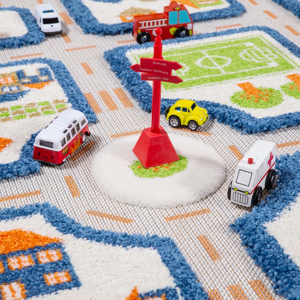 "Alternate Image #4 of IVI Traffic 3D Play Rug - Blue 31.5"" x 44.5"""