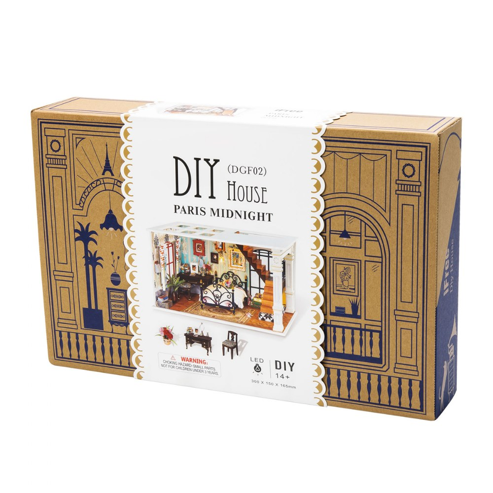 Alternate Image #4 of DIY 3D Wooden Puzzles - Miniature House: Paris in Midnight