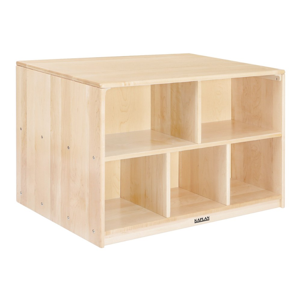 Premium Solid Maple Preschool Mobile Storage Island
