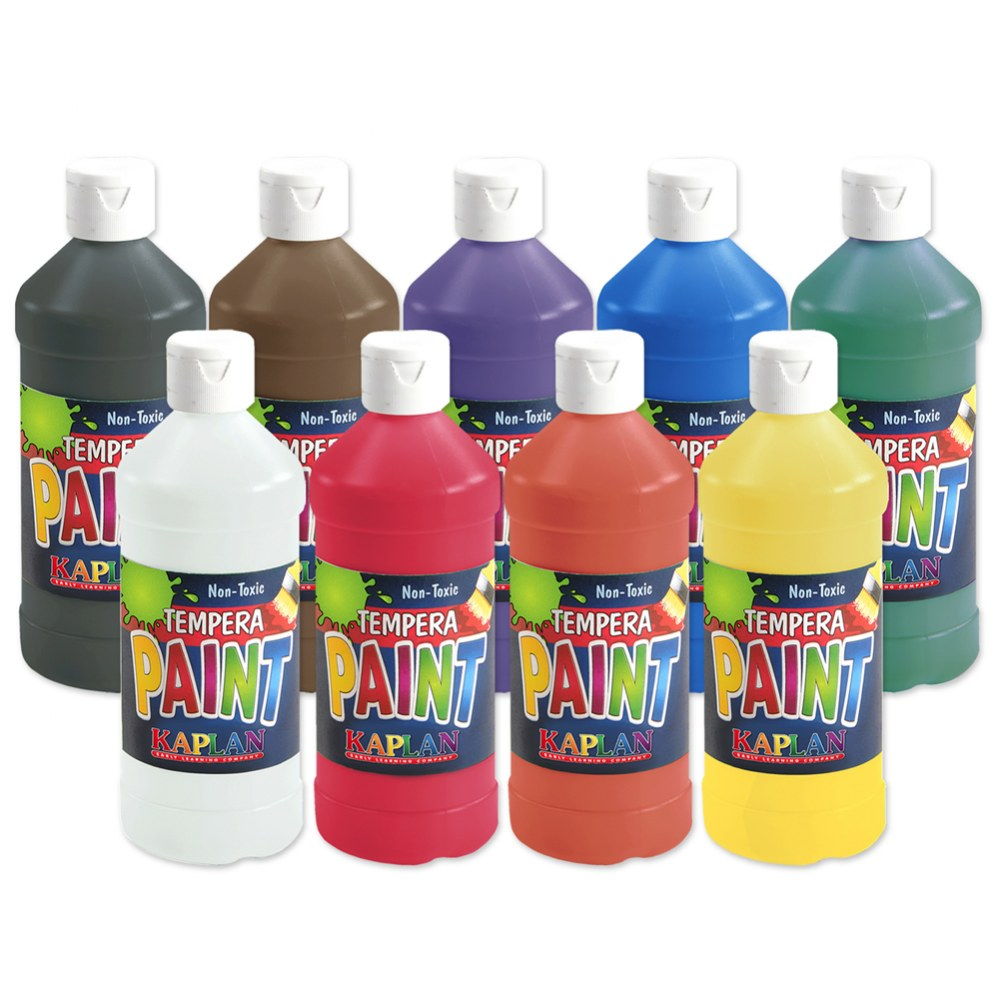 Kaplan Kolors Tempera 16 oz. Paints - Set of 9