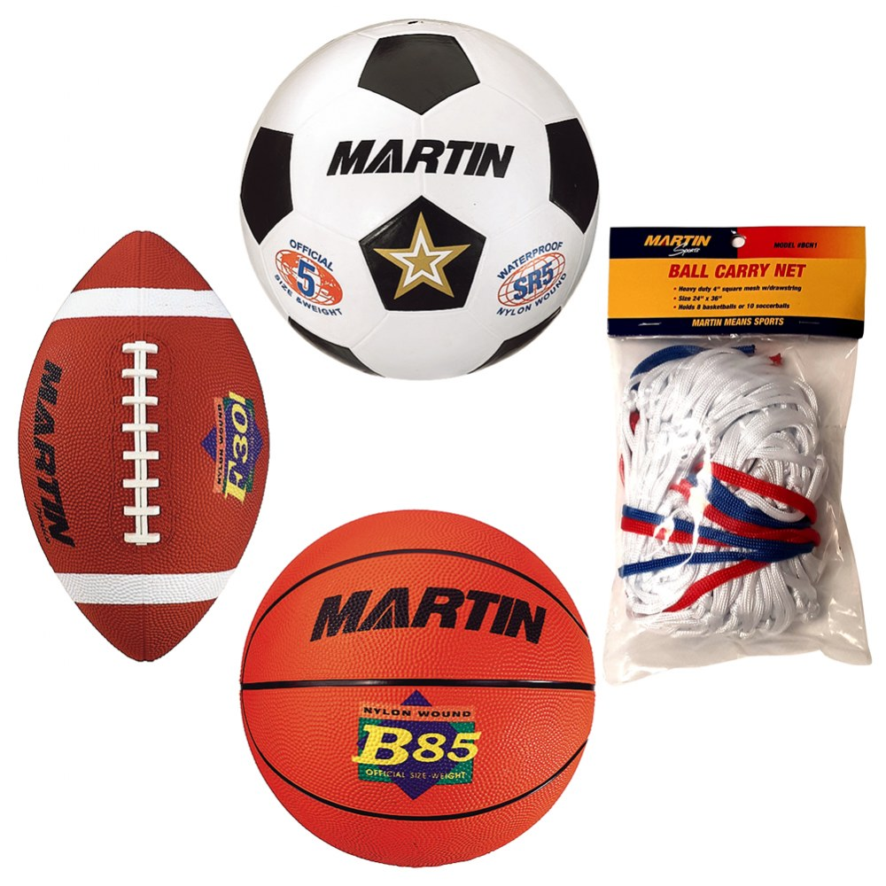 Set of 3 Sports Balls with Bag