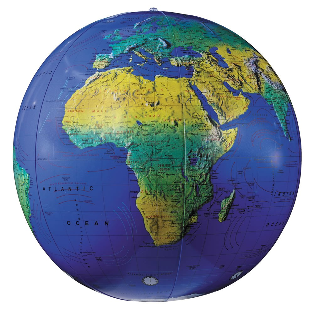 "16"" Topographical Inflatable Globe"