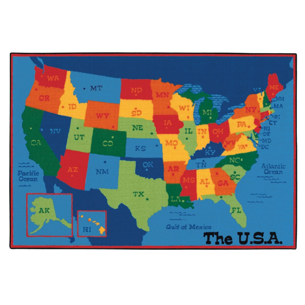 USA Map KID$ Value PLUS Rugs