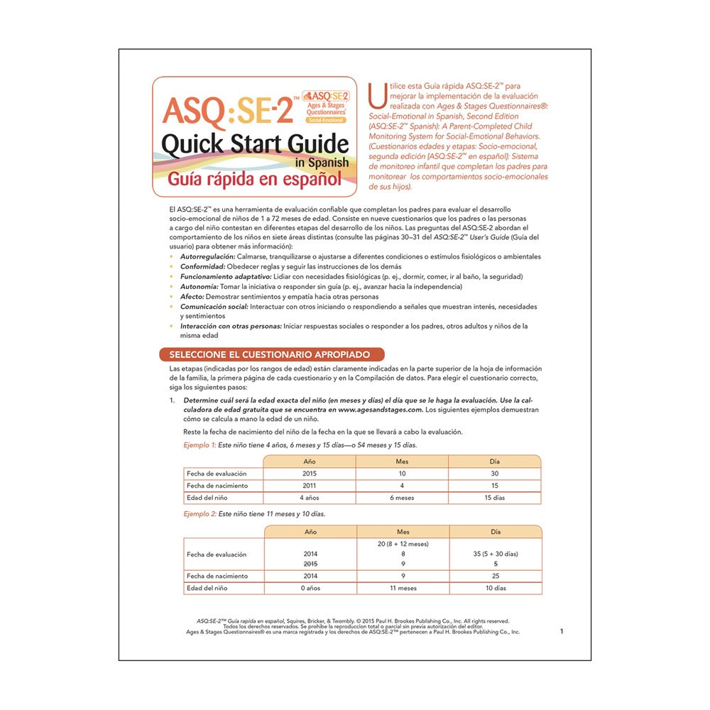 ASQ:SE-2™ Quick Start Guide