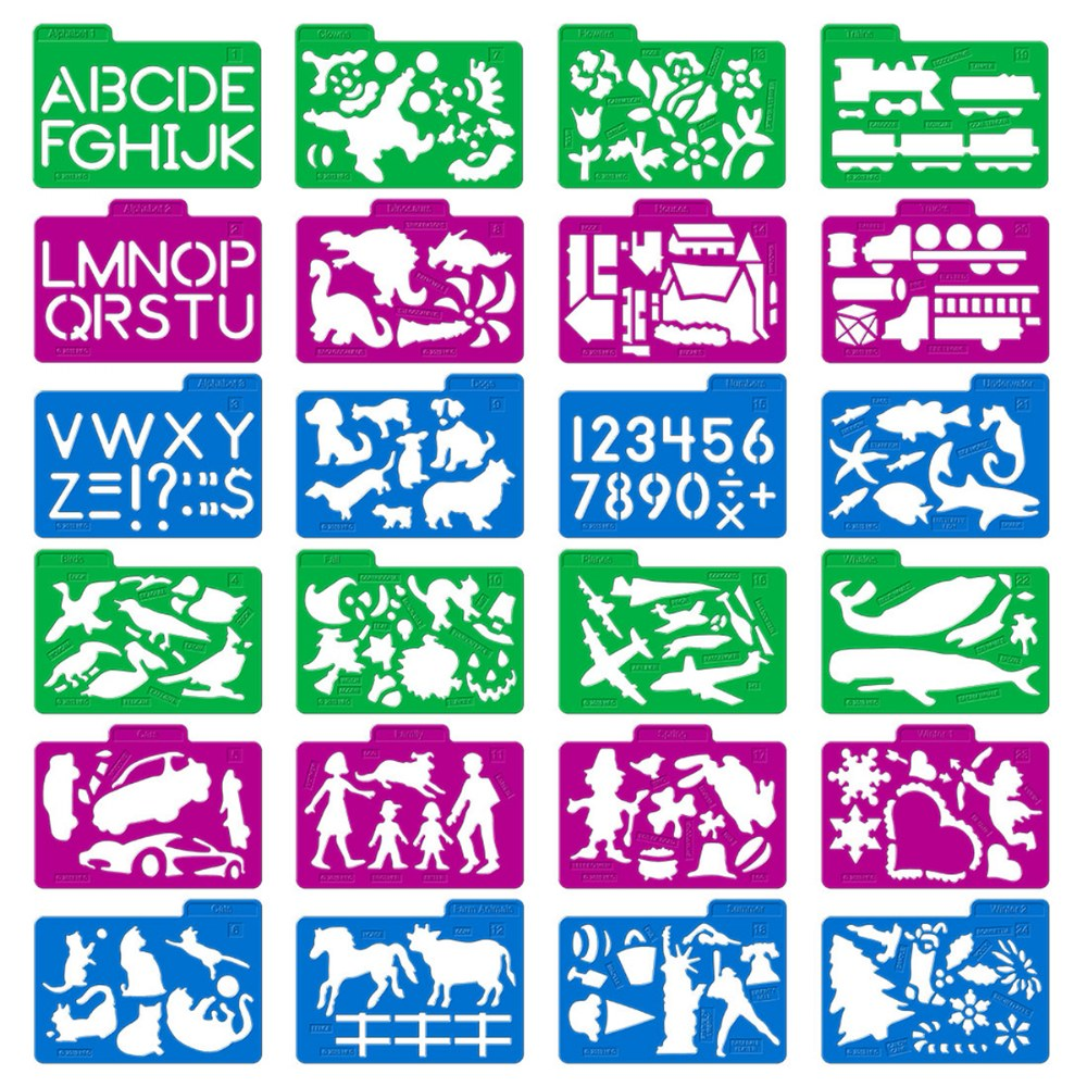 Alternate Image #1 of Stencil Mill Collection of Alphabets, Numbers, Animals, People, Transportation and more
