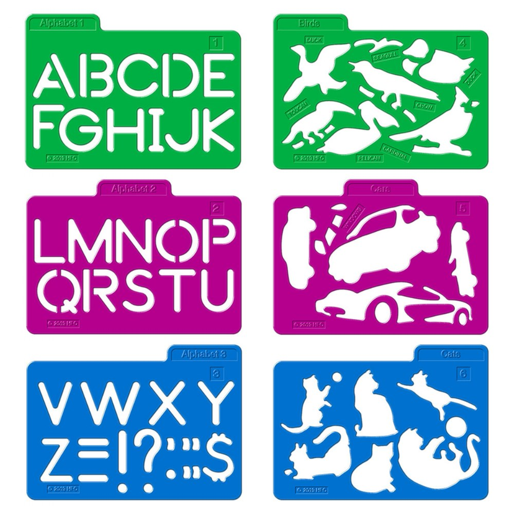 Alternate Image #2 of Stencil Mill Collection of Alphabets, Numbers, Animals, People, Transportation and more