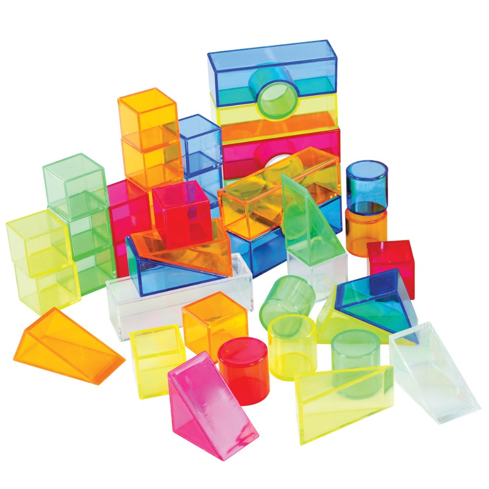 Alternate Image #1 of Transparent Light and Color Blocks - 108 Pieces