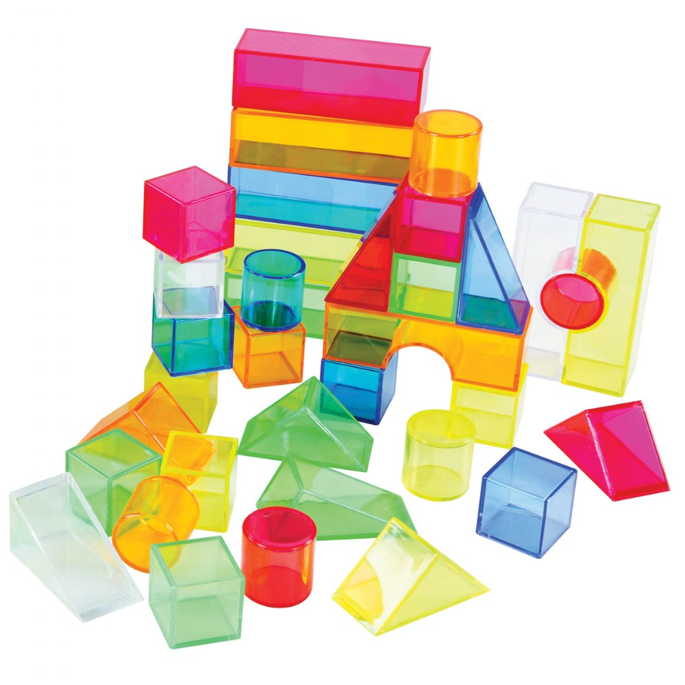 Alternate Image #2 of Transparent Light and Color Blocks - 108 Pieces