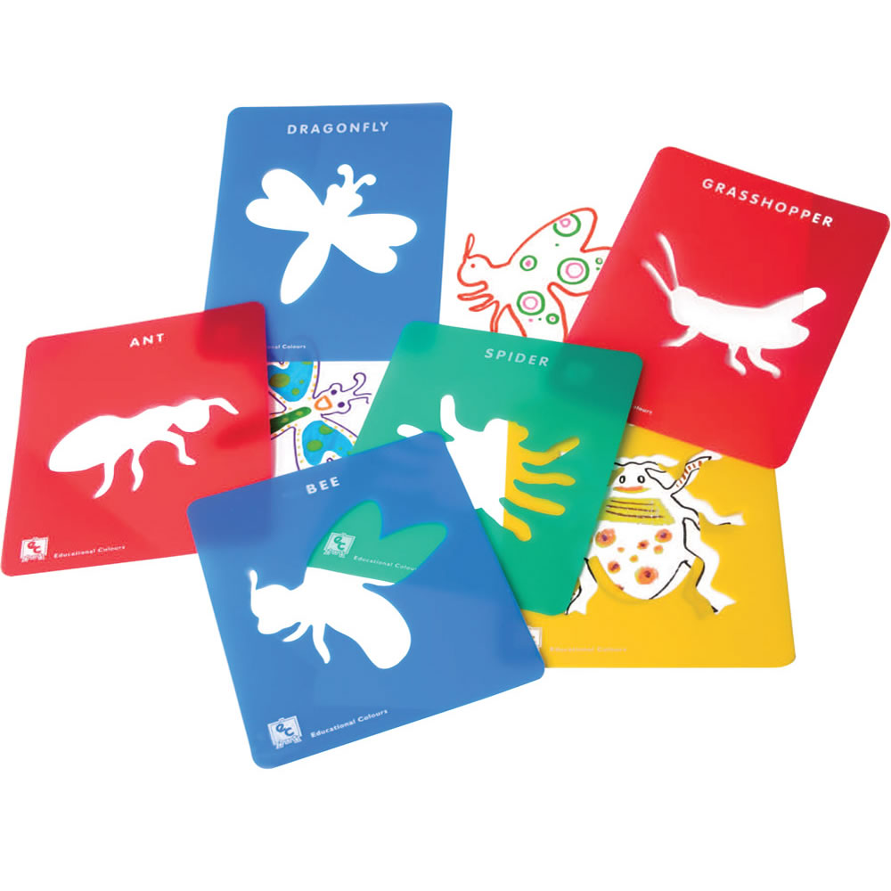 Alternate Image #1 of Life Science Stencils of Bugs and Animals - Set of 24