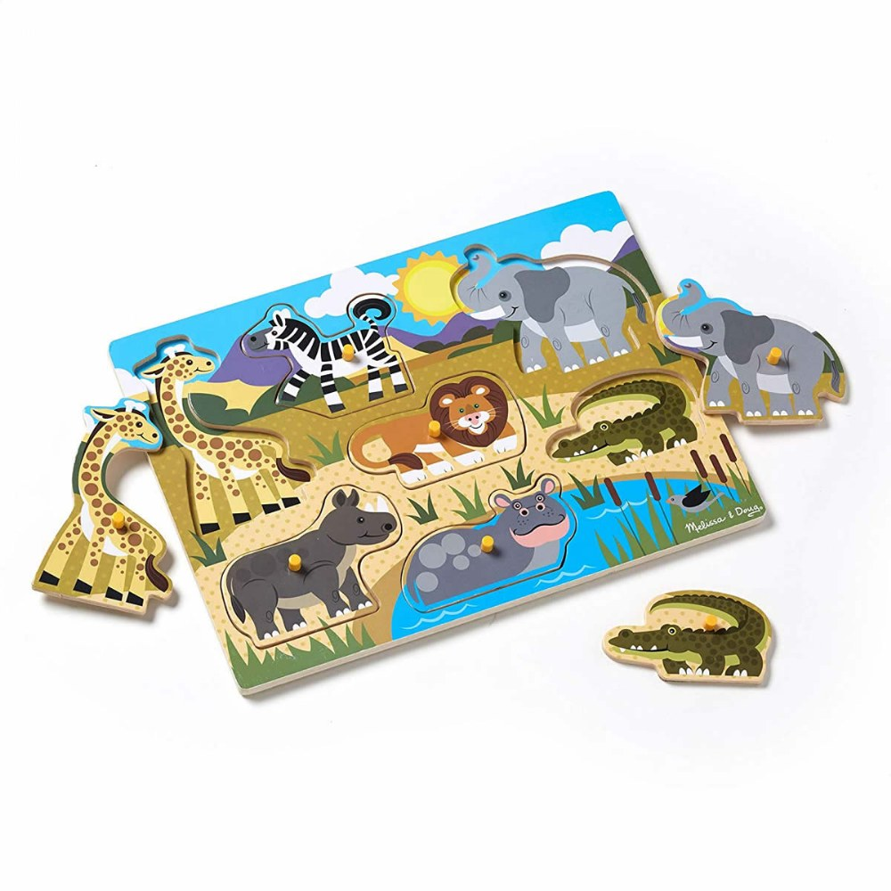 Alternate Image #1 of Animal and Sea Life Peg Puzzles Classroom Set - Set of 5