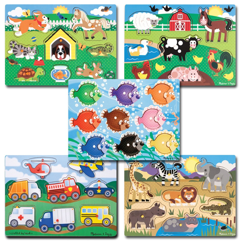 Animal and Sea Life Peg Puzzles Classroom Set - Set of 5