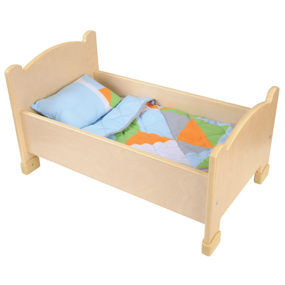 Wooden Doll Bed with Bedding