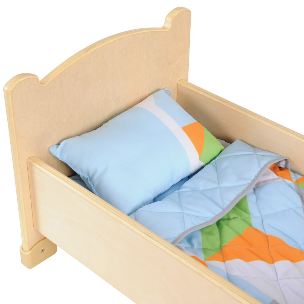 Alternate Image #1 of Wooden Doll Bed with Bedding