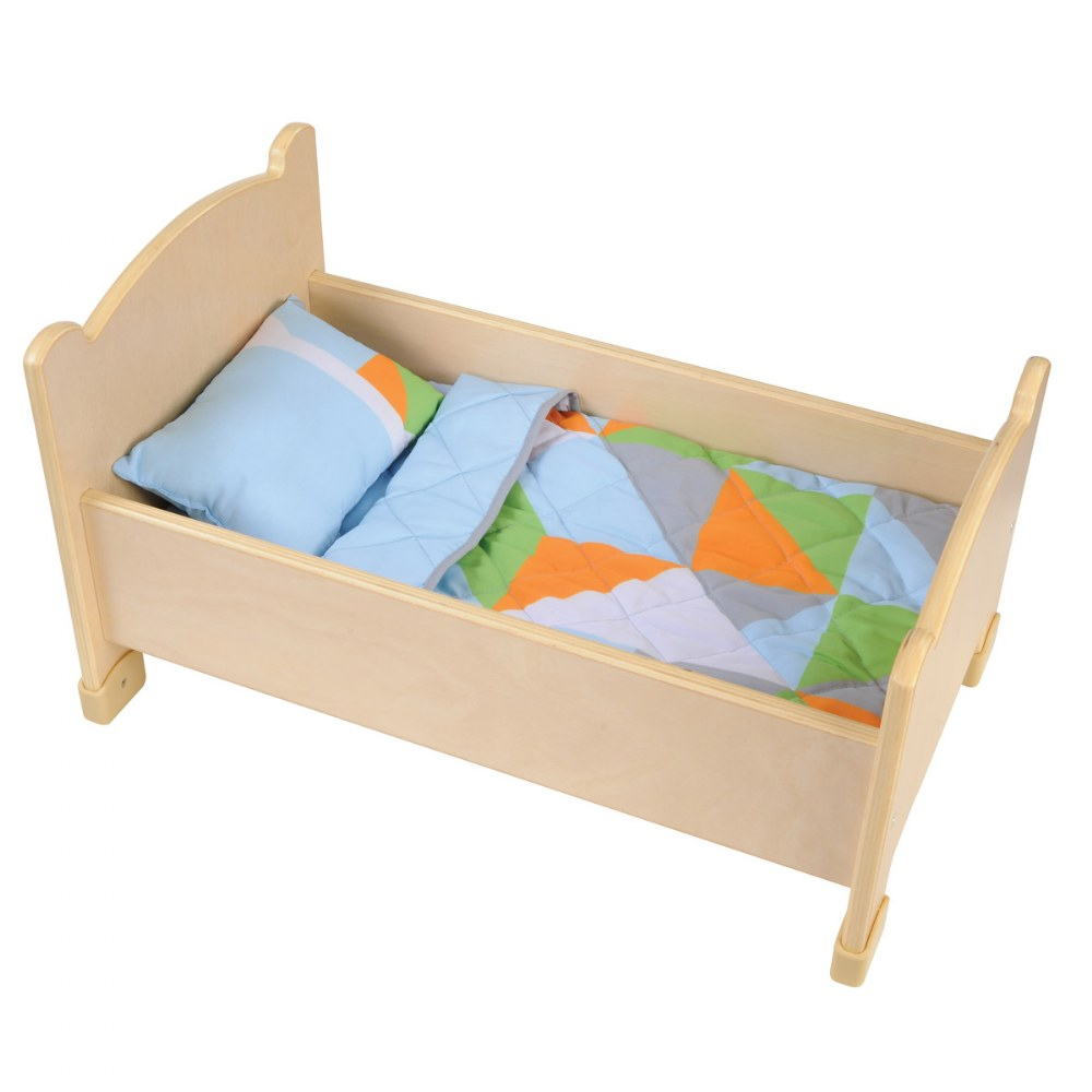 Alternate Image #3 of Wooden Doll Bed with Bedding