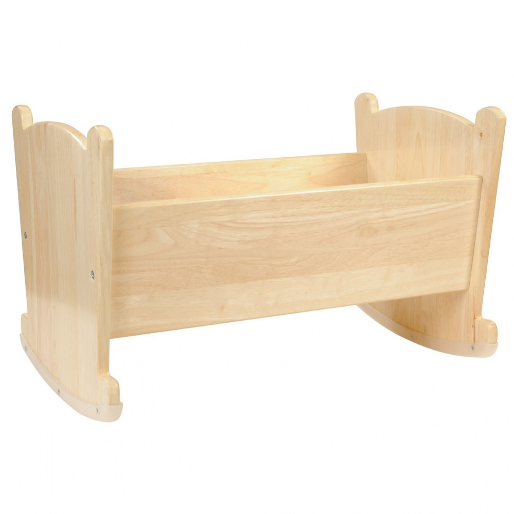 Alternate Image #1 of Wooden Doll Cradle with Pillow and Blanket Bedding