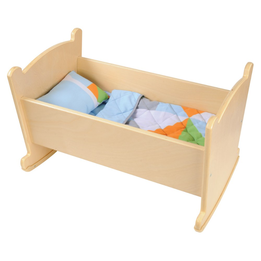 Wooden Doll Cradle with Pillow and Blanket Bedding