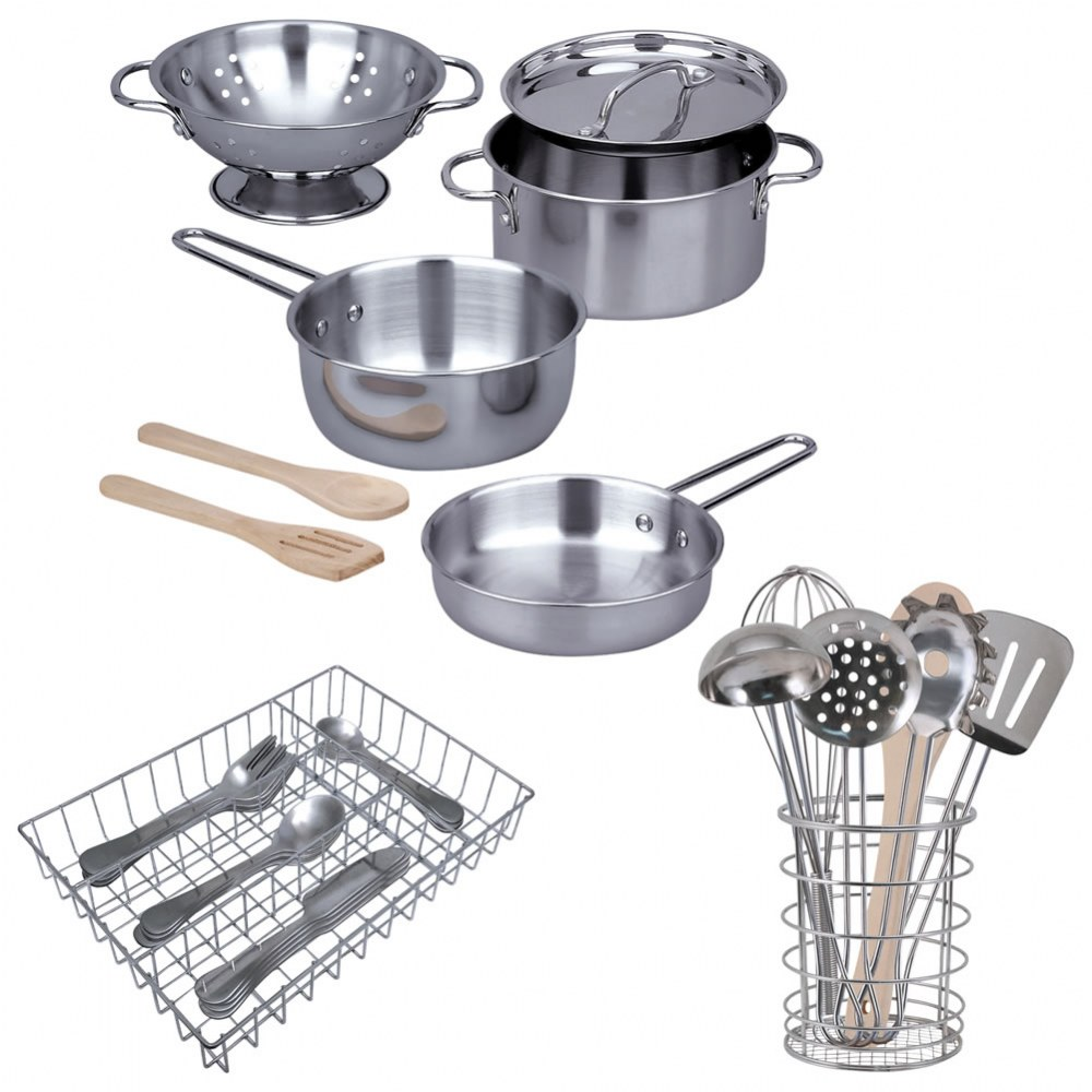 Pretend Play Stainless Steel Kitchen Essentials