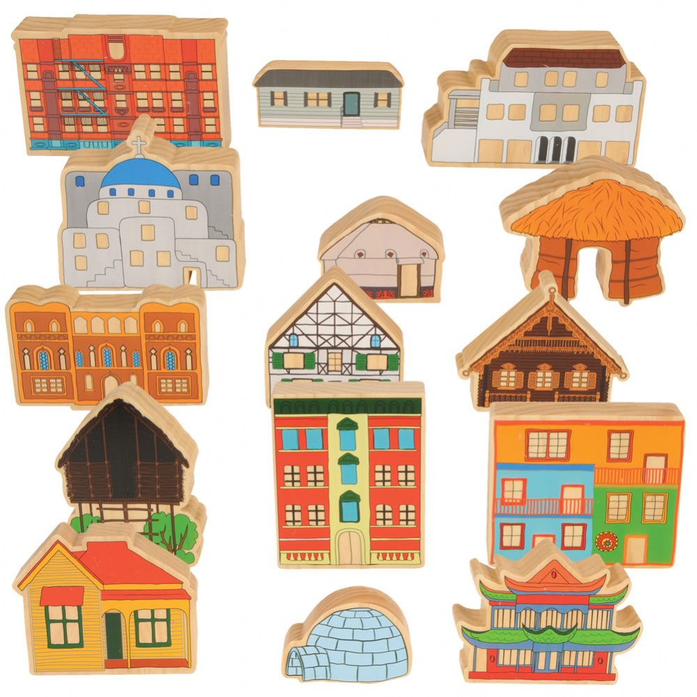 Homes Around the World Wooden Blocks - Set of 15